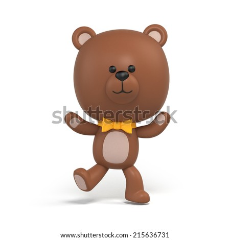 happy dancing chocolate teddy bear illustration, toy clip art isolated on white, 3d cartoon character design - stock photo