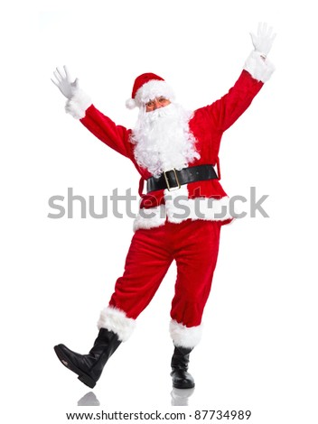Happy dancing Santa Claus. Christmas. Isolated on white background. - stock photo