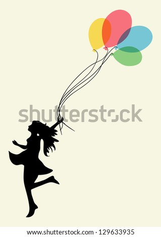 Happy dancing woman with floating balloons. - stock photo