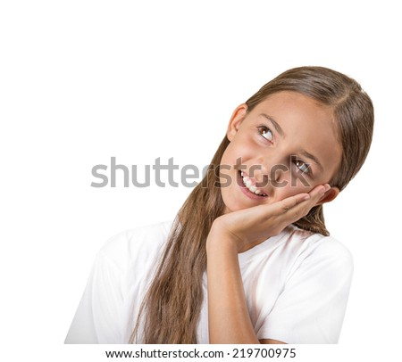 Happy daydreaming. Closeup portrait pensive thinking teenager girl face on hand, looking up isolated white background with copy space. Positive human facial expression emotions feeling life perception - stock photo