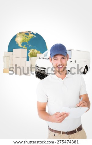 Happy delivery man holding clipboard against logistics graphic - stock photo