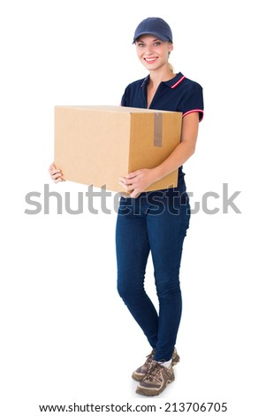 Happy delivery woman holding cardboard box on white background - stock photo