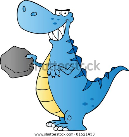 Happy Dinosaur Cartoon Character.Raster illustration. Vector version is also available - stock photo