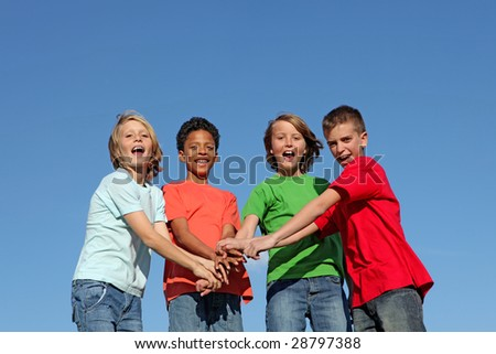 happy diverse kids at summer camp - stock photo
