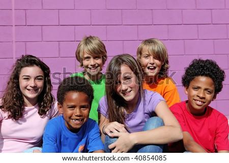 happy diverse kids or chldren - stock photo