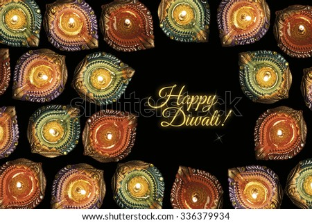 Happy diwali greeting card colourful diyas stock photo 336379934 happy diwali greeting card with colourful diyas with copy space m4hsunfo Image collections