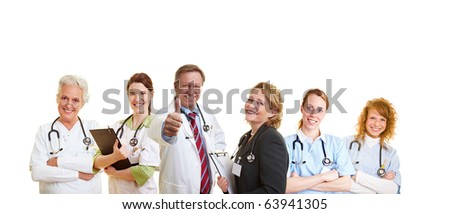 Happy doctor and his smiling medical staff - stock photo