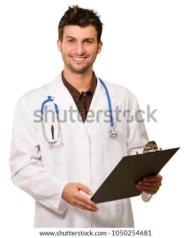 Happy Doctor Holding Clipboard On White Background