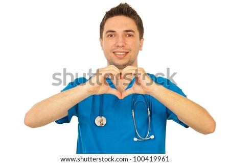 Happy doctor man showing heart shape isolated on white background - stock photo