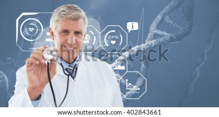 Happy doctor smiling at camera and showing his stethoscope against image of a dna - stock photo