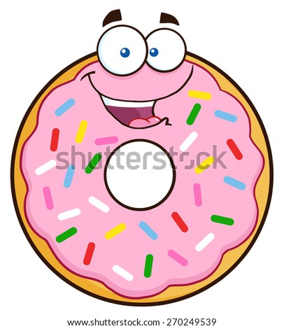Happy Donut Cartoon Character With Sprinkles. Raster Illustration Isolated On White - stock photo