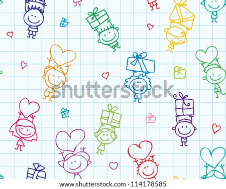 Happy doodle children with presents seamless background on school paper texture - stock photo