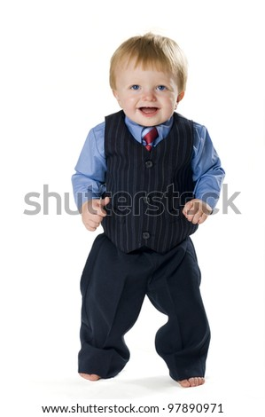 Happy dressed-up toddler - stock photo
