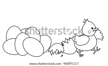 Happy Easter Chicken Hatched From Egg Coloring Page