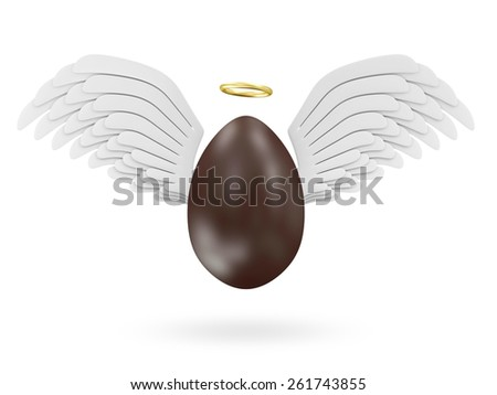 Happy Easter Concept. Big Chocolate Easter Egg with Angel White Wings and Golden Nimbus isolated on white background