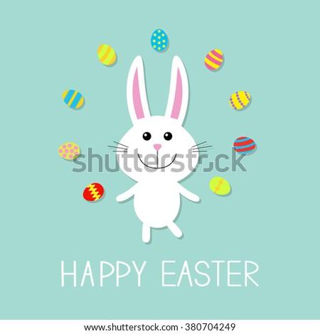 Happy Easter. Cute bunny rabbit  juggles egg. Flat design.  - stock photo