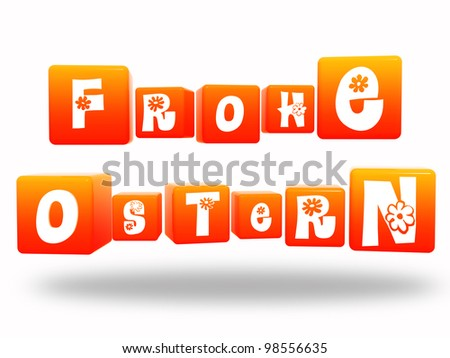 Happy Easter -3d orange cubes with text in german - stock photo