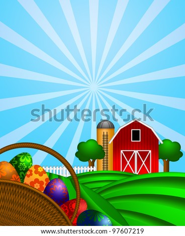 Happy Easter Day Eggs Basket with Red Barn Grain Elevator Silo and Trees on Green Pastures Illustration - stock photo