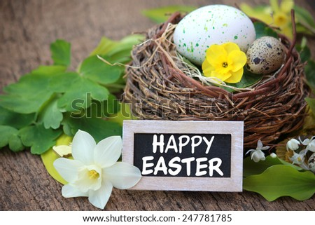 Happy Easter - Easter basket with eggs and flowers - stock photo