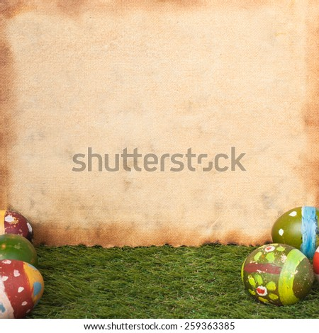 Happy easter eggs festival event on grass and grunge paper,can use as background - stock photo