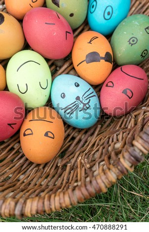 Happy Easter eggs with funny faces painted / Easter eggs / Easter