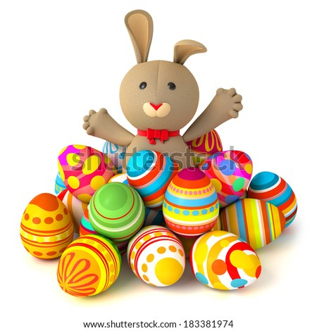 Happy Easter Funny Rabbit Jumps Out From A Pile Of Eggs Conceptual Illustration