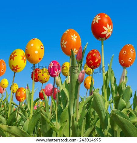 Happy easter, funny tulips, composing - stock photo