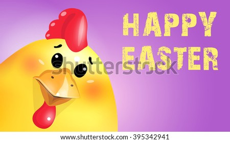 Happy Easter greeting card, invitation. Easter cartoon fun chick portrait on blue background. - stock photo