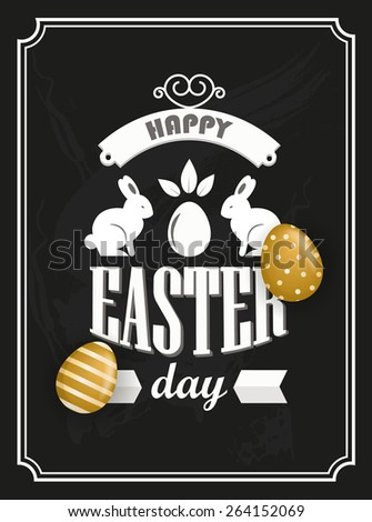 Happy Easter greeting card (raster version) - stock photo