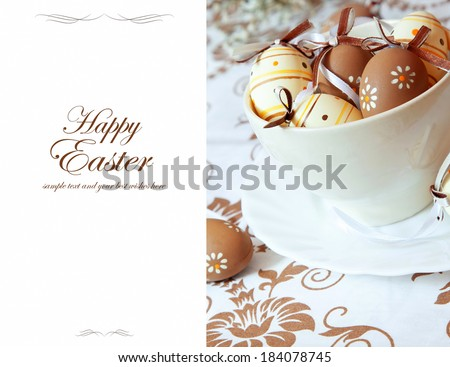 Happy Easter Greeting with Painted Easter Eggs,Classic Beautiful Easter Card - stock photo