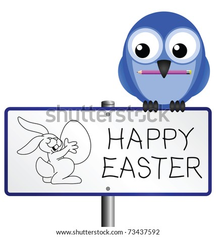 Happy Easter message with Easter bunny drawing