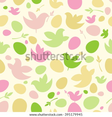 Happy Easter pattern with birds and eggs, rasterized version. - stock photo
