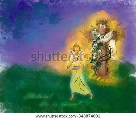 Happy Easter Risen Christ religious greeting card background, artistic abstract watercolor illustration, with empty cross with thorns, and Risen Lord carrying a lamb - stock photo