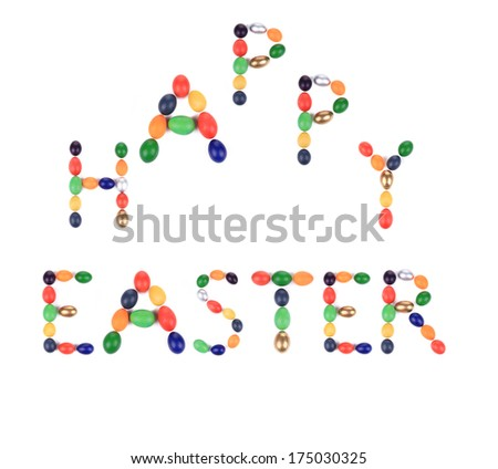 Happy Easter sign for holiday. Isolated on a white background.