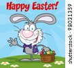 Happy Easter Text Above A Waving Gray Bunny With Easter Eggs And Basket. Raster Illustration.Vector version also available in portfolio. - stock photo