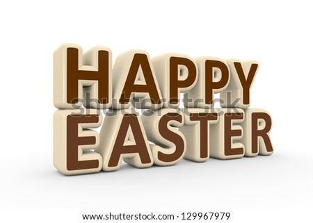 Happy Easter text made of white and milk chocolate (3D render) - stock photo