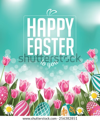 Happy Easter tulips eggs and text royalty free stock illustration for greeting card, ad, promotion, poster, flier, blog, article, social media - stock photo