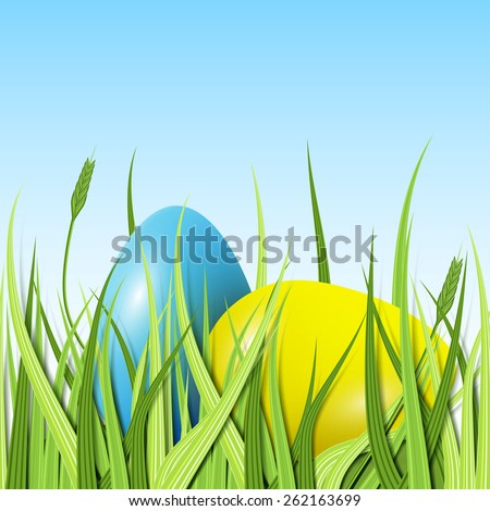 Happy Easter, two eggs yellow and blue in the grass, excellent illustration - stock photo