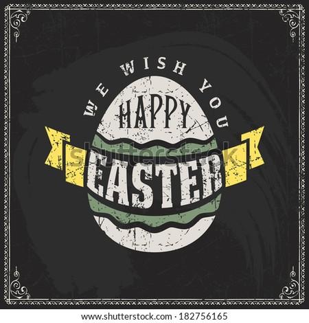 Happy Easter Typographical Blackboard Background - stock photo