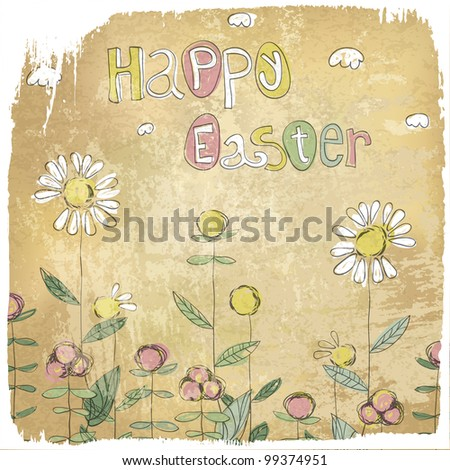 Happy Easter Vintage Card, rasterized version. - stock photo