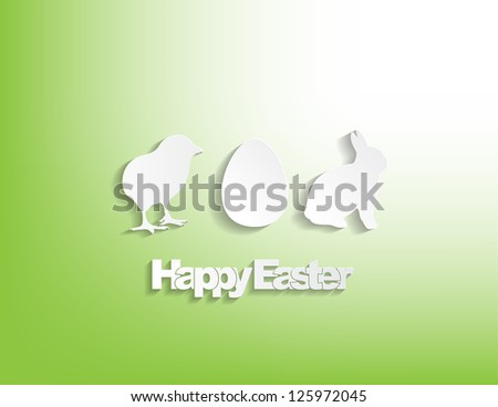 Happy Easter with a bunny, egg and a chicken sticker on a green background. - stock photo