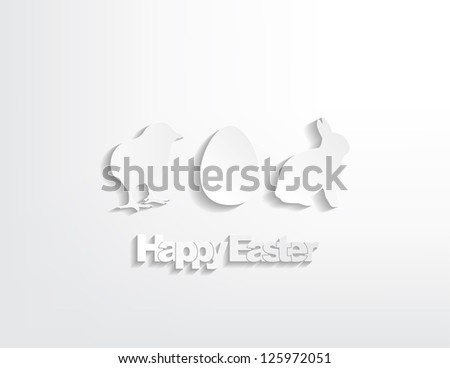 Happy Easter with a bunny, egg and a chicken sticker on a white background. - stock photo