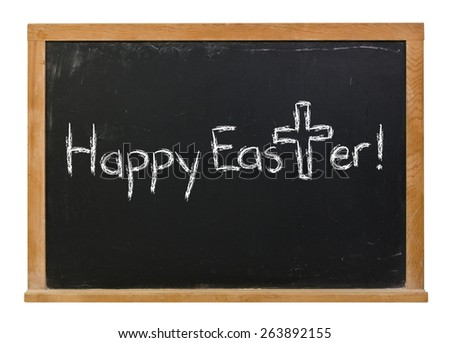 Happy Easter with a cross written in white chalk on a black chalkboard isolated on white - stock photo