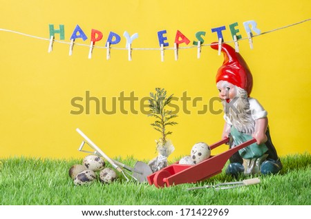 Happy Easter with Garden Gnome. - stock photo