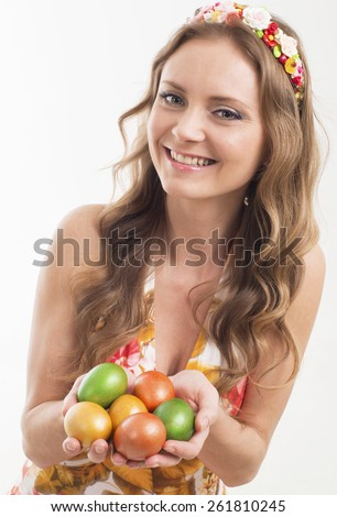 Happy easter ,woman with colorful eggs
