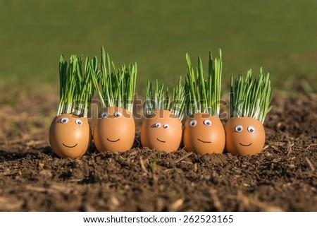Happy egg family - stock photo