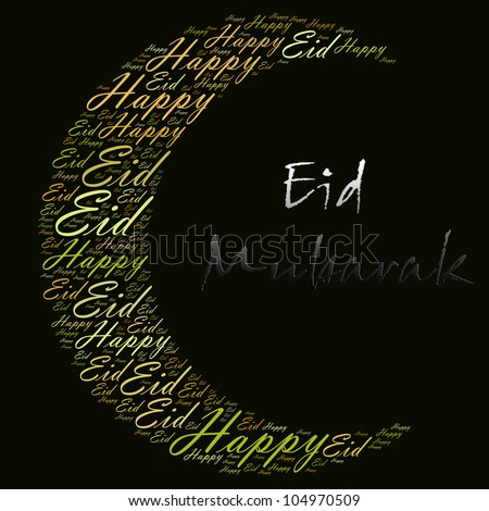 Happy Eid greeting word cloud composed in the shape of new moon crescent. Eid is the main muslim festival celebration which include Eid Fitr after the fasting month and Eid Adha after the hajj season. - stock photo
