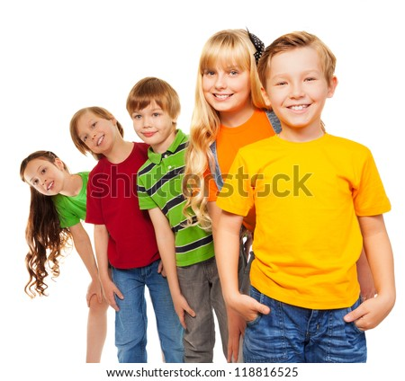 Happy eight years old kids - three boys and two girls - stock photo