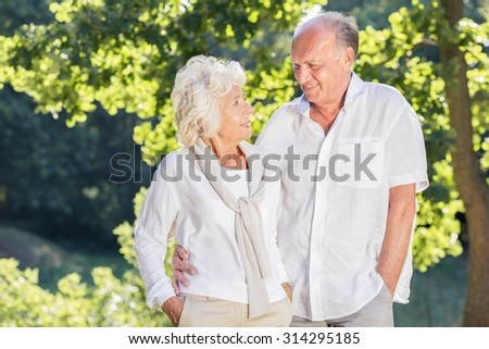 Happy elder marriage looking each other eyes