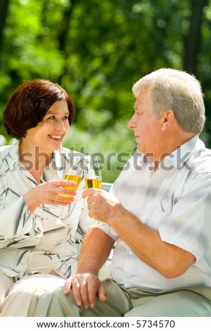 Happy elderly couple celebrating together with champagne, outdoors - stock photo